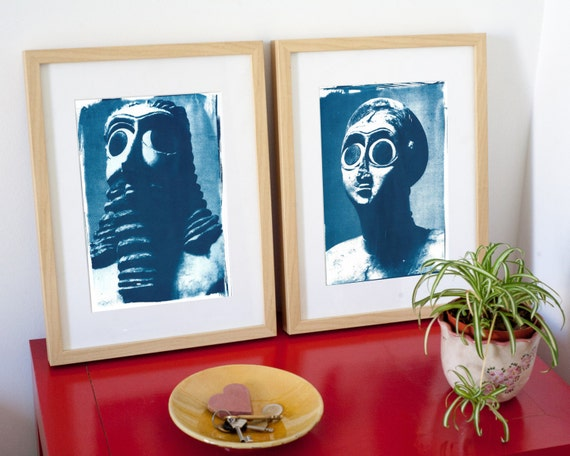 Pair of Amazing Sumerian Holistic Sculptures, Cyanotype Prints on Watercolor Paper, Limited Edition, Ancient Mesopotamia