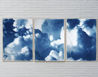 Dense Rolling Clouds / Handmade Cyanotype Triptych on Watercolor Paper / 100x210 cm / 2021