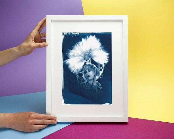 30's Fashion Photo of Femme Fatale Salomé, Cyanotype Print, Classic Film, Aubrey Beardsley Fashion Lover Alla Nazimova Feathers Vintage film