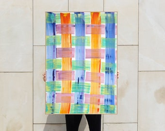 Brushstrokes Plaid Pattern / Acrylic Painting on Paper / 2021