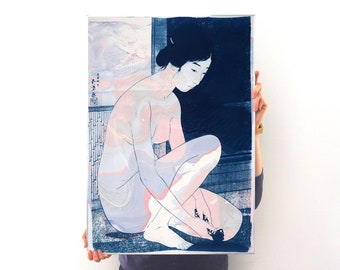 Woman After a Bath / Cyanotype and Sumi Marbling Ink on Watercolor Paper