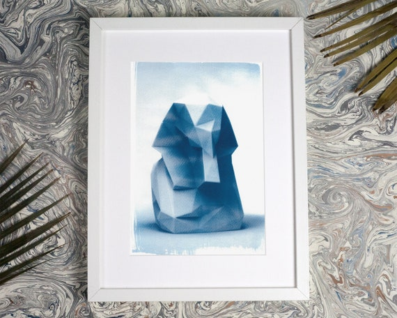 Egyptian Pharaoh Low-Poly Bust, Cyanotype Print, King Tut, Tutankhamun, Pyramids, Pharoah, Ancient Art, Rustic Bedroom, Egypt Lover, Mummy