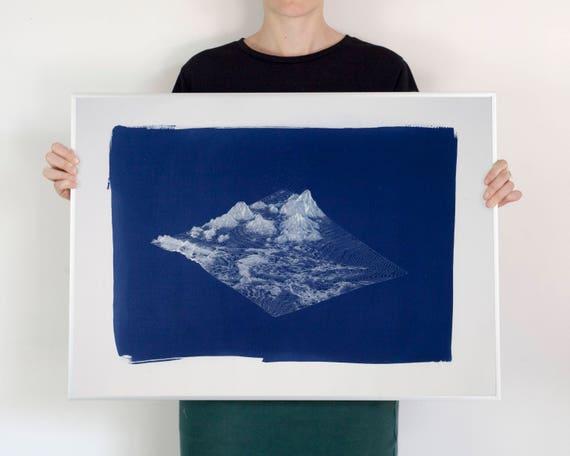 Digital Mountain Landscape Render, Large Cyanotype Print, 50x70 cm, Mountain House, Cabin Decor, Lake House Decor, Hand Printed, Handmade