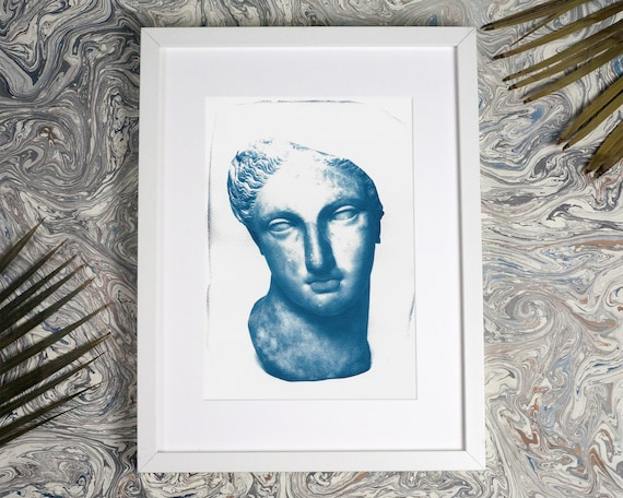 Greek Woman Bust Sculpture, Cyanotype Print on Watercolor Paper, Ancient Greece, Ancient Rome Boho Print Marble Sculpture Boho Chic Wall Art