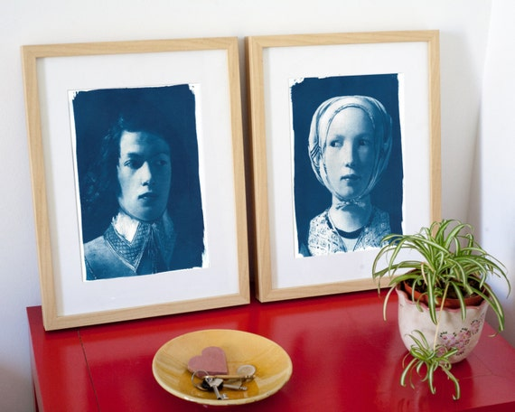 Pair of faces, Boy and Girl from De La Tour Painting, Cyanotype Prints, Housewarming Decor, Couples Gift Boy and Girl Print Just Married Art