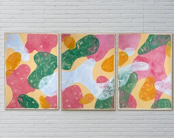 Colorful Pastel Flourish / Acrylic Painting on Watercolor Paper / 100x210 cm