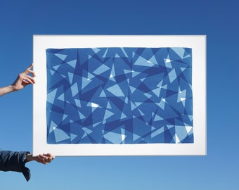 Transparent Layers Triangles I / Unique Monotype-Cyanotype on Watercolor Paper / 2021