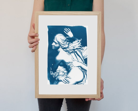 Greek Mythology, Bernini Rape of Prosepina Sculpture, Cyanotype Print, Wall Art, Gothic Bedroom, Erotic Art Print, Greek Art, Boho Decor