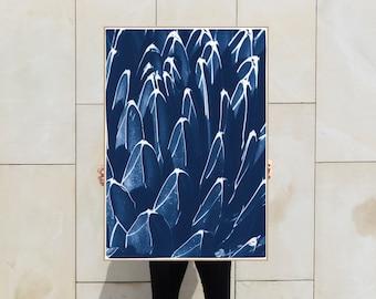 Fractal Blue Cactus / Cyanotype Print on Watercolor Paper / 2021