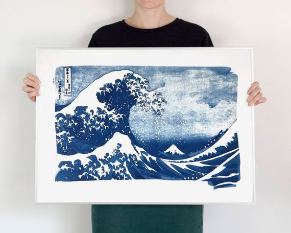 The Great Wave off Kanagawa Japanese Print by Hokusai, Cyanotype Print, Asian Decor, Japanese Wave, Top Selling Artwork, Zen Decor