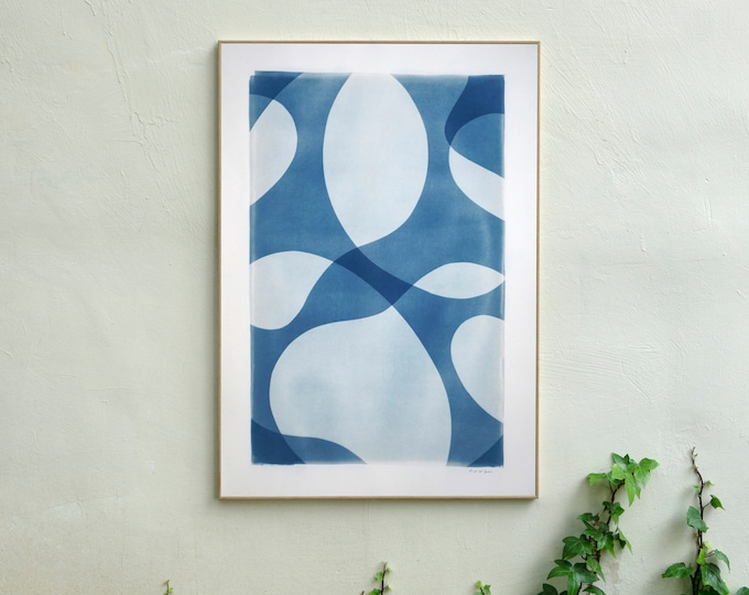 Ghostly Pool Shapes II / Handmade Unique Cyanotype on Watercolor Paper / 2021