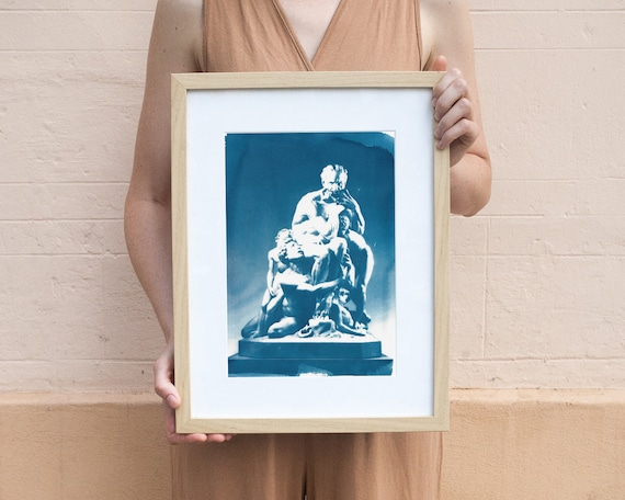 Ugolino and His Sons Marble Sculpture, Cyanotype Print on Watercolor Paper, Sun Print, Classical Sculpture, Ancient Greece, Art History Gift