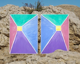 Pastel Pyramid on Paper / Acrylic Painting on Paper / 2021