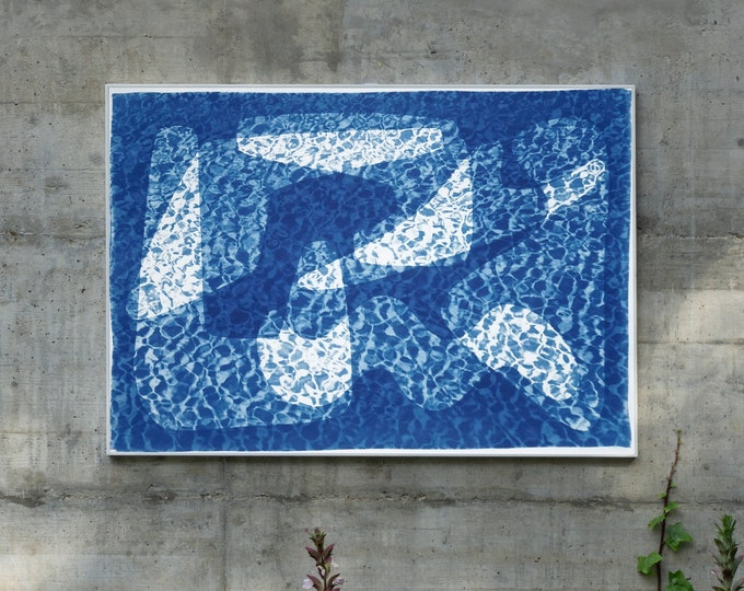 Mid Century Shapes Under Water I / Unique Cyanotype on Watercolor Paper / 2021