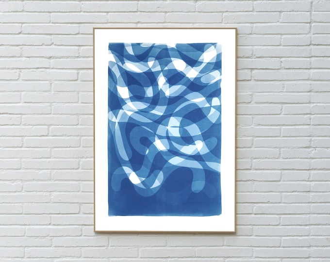 Falling Swirls in Blue Tones / Unique Cyanotype Monotype on Paper / 2021