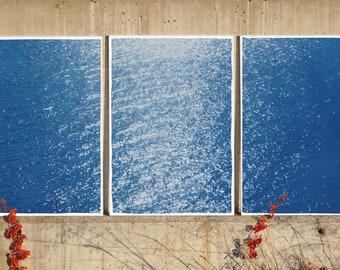 Splendorous Amalfi Coast / Handmade Cyanotype Print on Watercolor Paper / 2021