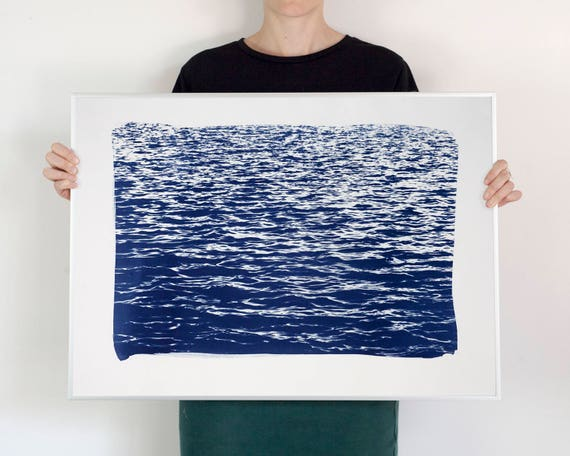 Blue Waves Seascape Cyanotype Print, 50x70 cm