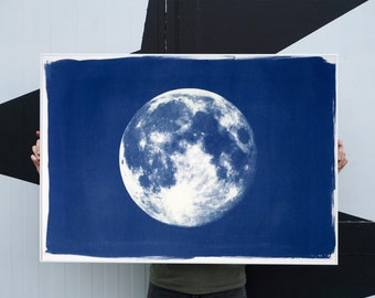 Handprinted Cyanotype: Blue Moon / 100x70cm / Limited Edition /