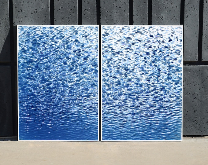 Cove Ripples Diptych / Cyanotype Diptych on Watercolor Paper / 100x140 cm / 2020