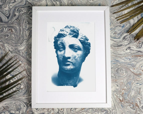 Greek Terracotta Female Sculpture Cyanotype Print, Greek Wall Art, Ancient Ceramic, Greece Lover, Bust Sculpture, Marble Sculpture