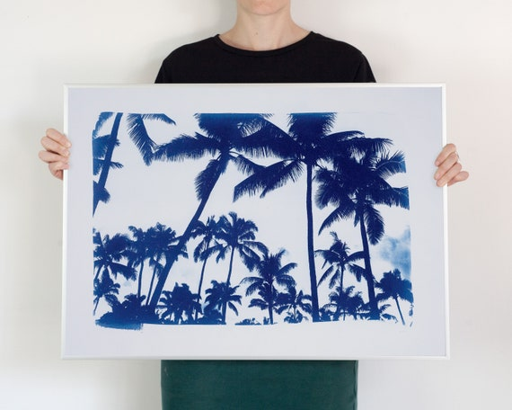 Miami Sunset Landscape/ Hand-Printed Cyanotype on Watercolor Paper / 50x70cm / Limited Edition