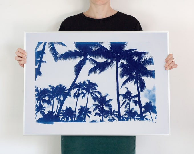 Acapulco Palm Sunset / Hand-Printed Cyanotype on Watercolor Paper / 50x70cm / Limited Edition