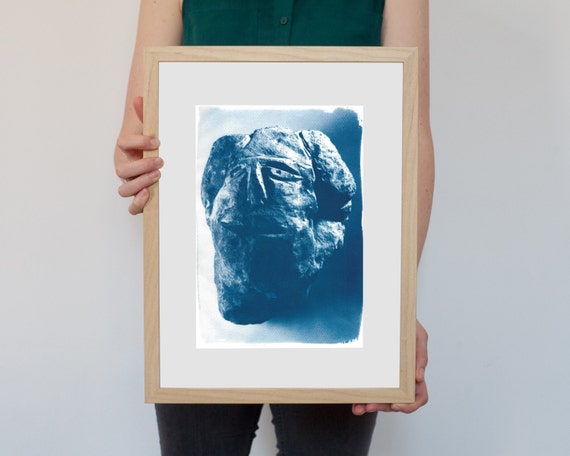 Cyanotype Print, Abstract Rock Face Sculpture on Watercolor Paper, Handmade print, Hand printed, Affordable art, Printmaking, Wall art, Rock