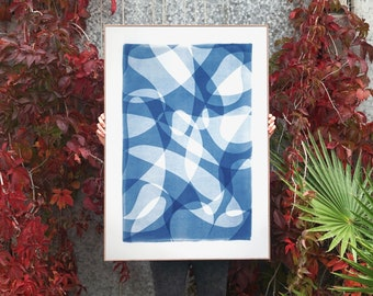 Line Contours in Shade Gradients I / Monotype - Cyanotype on Watercolor Paper / 2021