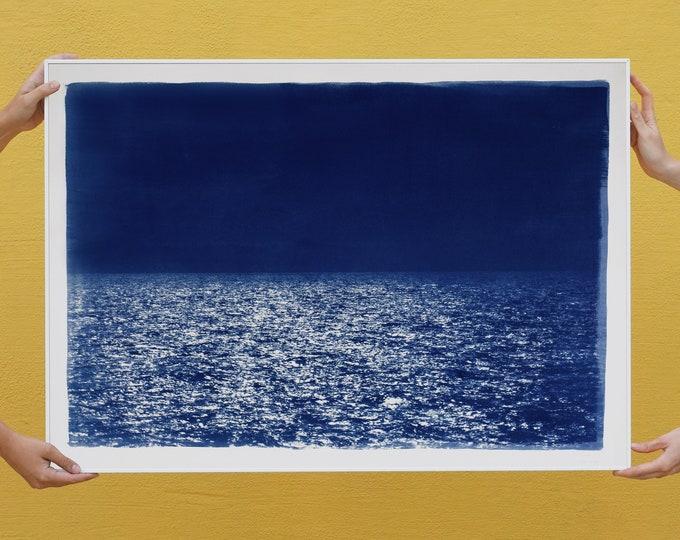 Barcelona Beach Night Horizon / 100x70cm / Cyanotype on Watercolor Paper / Limited Edition