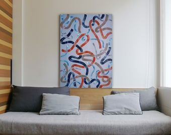 Cool Calm Tones on Slate Gray / Acrylic Painting on Canvas / 100x70 cm / 2021