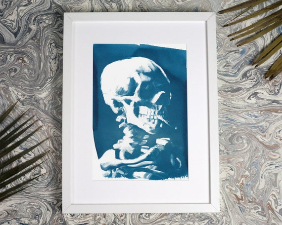 Van Gogh Skull with Cigarette, Cyanotype Print, Smoking Skull, Anatomical, Art Lover, Boho Chic Wall Art, Rustic Decor, Dutch Art, Skull Art