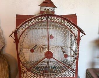 HOLD !!!!!!!!!!!!!!!!!!!!!!!!!!!!!!!!!!!!!!!!!!!!!!1870s - RARE ANTIQUE Hendryx Bird Cage Victorian Revolving Ferris Wheel Cage Tole cage