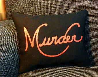 "Sherlock ""Murder"" Mini Pillow, Sherlock BBC, Geek Pillow, Home Decor"