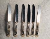 Kings Pattern knives silverplated cutlery vintage Italian set 6 person flatware