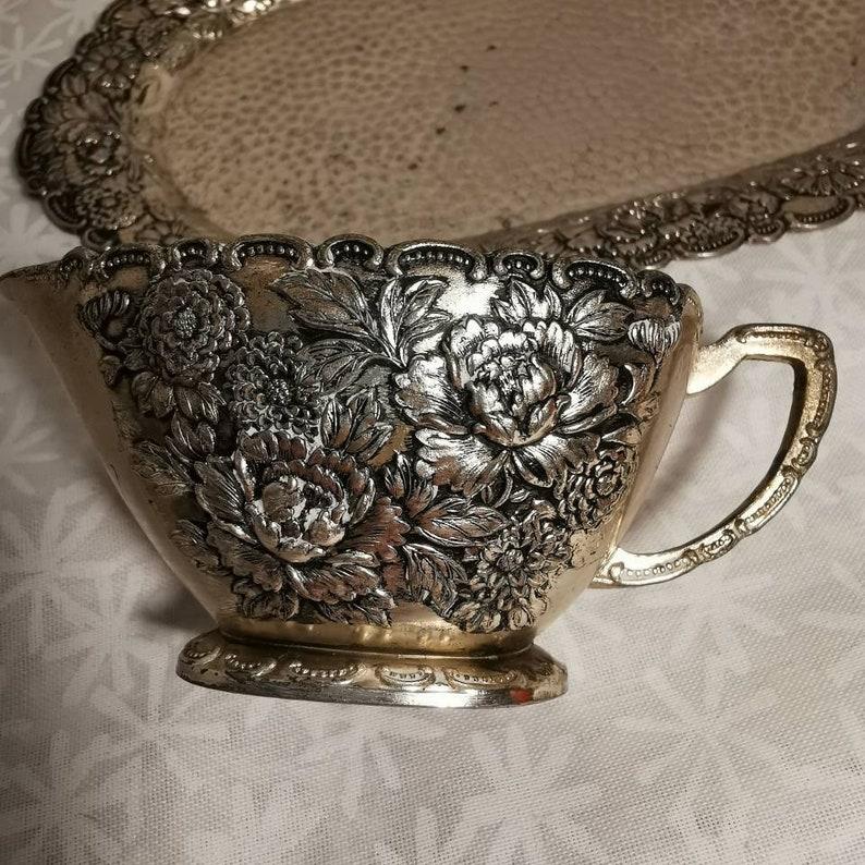floral silverware vintage creamer set Silverplated English creamer set on tray