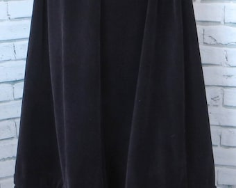 Laura Ashley Vtg 70s Maxi Skirt Sz UK 10 (Current 6 - 8) Made in Wales Black Cord