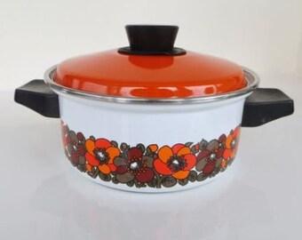 Vintage 1970s Orange Flower Power Enamel Lidded Casserole Dish Pan Retro Kitchen