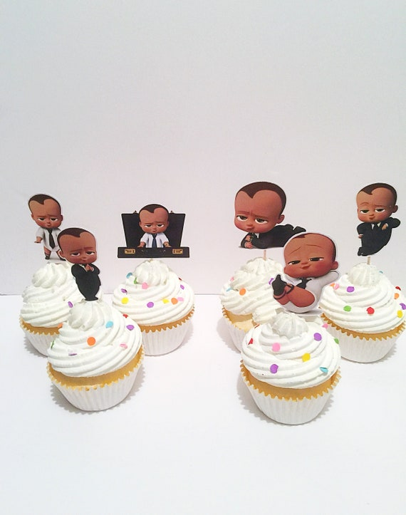 African American Boss Baby Cupcake Toppers Boss Baby Birthday Boss Baby Party Decorations