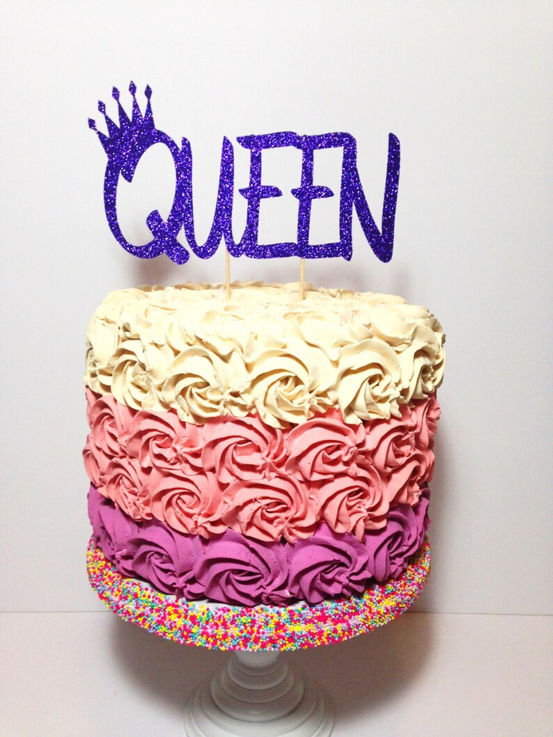 Queen Cake Topper Birthday Glitter Decorations Mothers