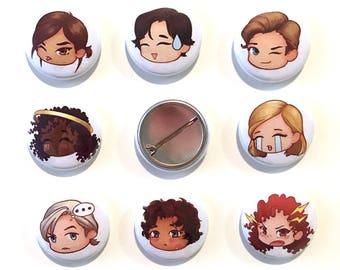 Lunar Chronicles (emoji) Pin back buttons