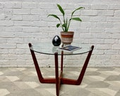 Vintage Round Coffee Table Teak Glass D253