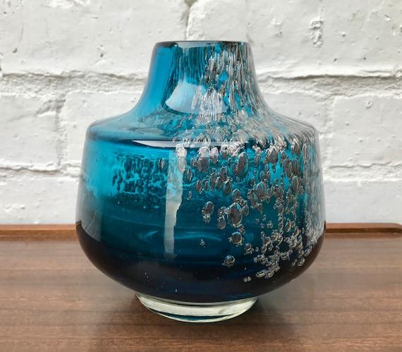 Vintage Vmf Glass Vase Blue Florida Schott Zwiesel 620 Etsy