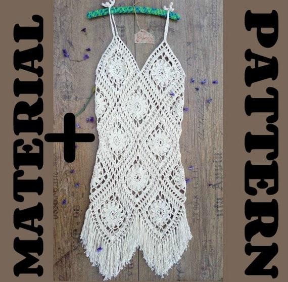 Muster häkeln Boho Material und Muster-Sommer-Kleid Strand | Etsy