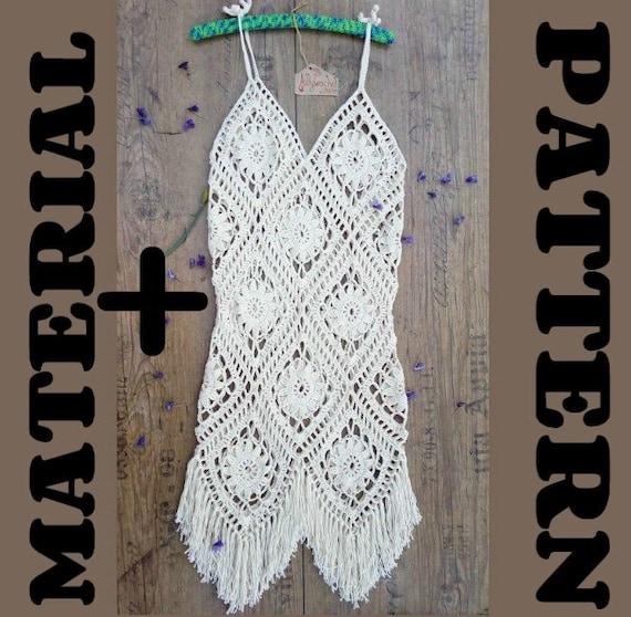 Boho Kleid HÄKELMUSTER und Material Sommerkleid Muster plus | Etsy