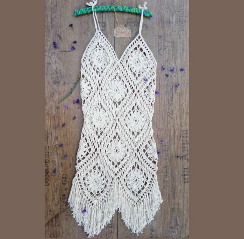 Summer Dress swimsuit cover up Fringe Dress Crochet Boho Dress Boho Crochet Maxi Bikini cover ups Beach Dress Crochet Festival Dress