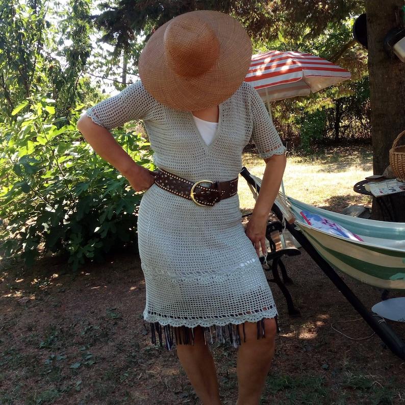 Grey Crochet boho dress, festival dress, semi formal dresses, organic  clothing, party dresses, sundress, plus size dress, OOAK dress