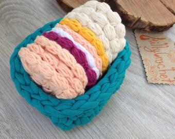 Cotton Face Scrubbies (set of 5), Cotton Rounds, 100% cotton, Vegan Friendly, Eco Friendly Face Pads, Reusable Cotton Pads, Crochet Basket