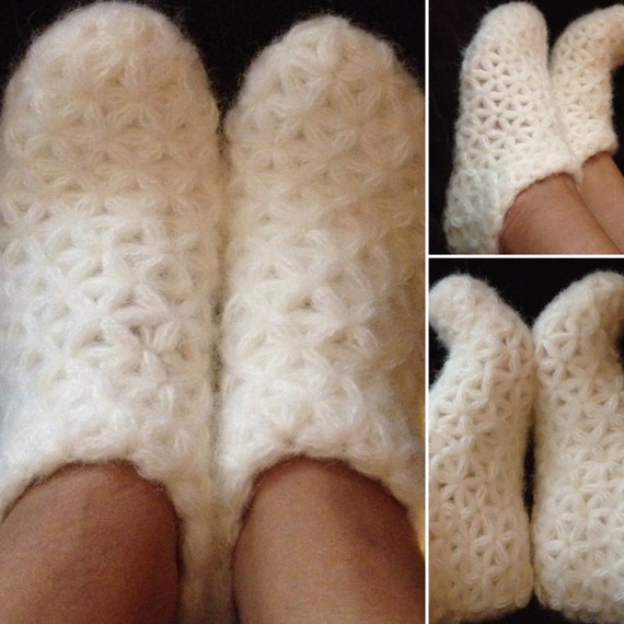 40880823df1ca White woman's crochet slipper, Fluffy home shoes, Warm winter slippers