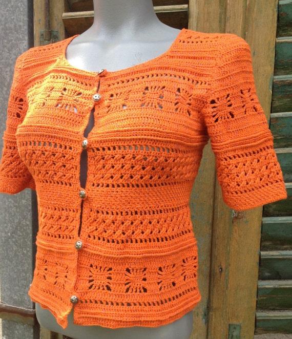 Bluse aus Baumwolle Orange Bluse häkeln Bluse OOAK-Bluse   Etsy
