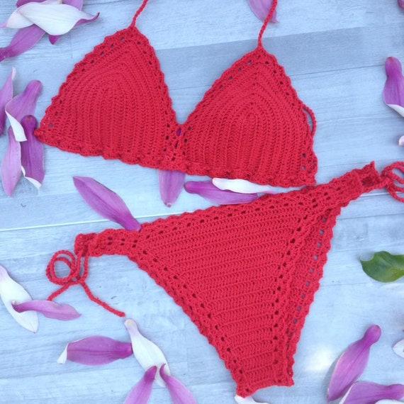 Red Crochet Triangle Bikini Bikini Set Bottom and Top  206e1559d